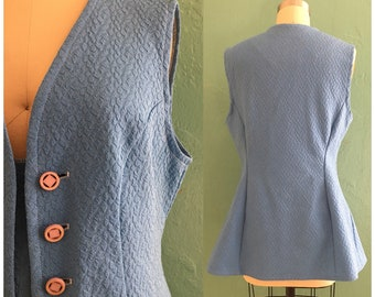 vintage 60's blue vest // longer textured vest