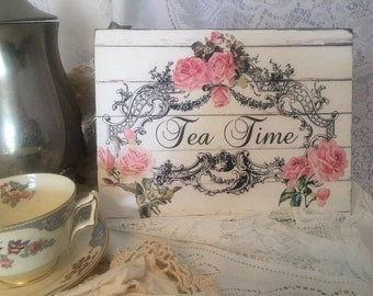 Shabby Pink Roses ~ TEA TIME ~ Handcrafted Shabby Wooden Sign #1