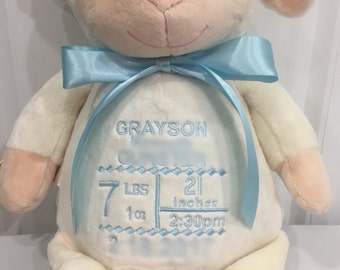 Lamb Stuffed Animal or Baby Stats Keepsake