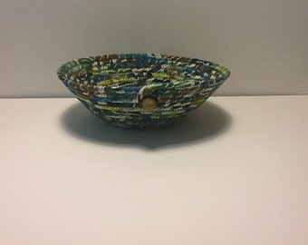 Batik Teal Brown and Green Coiled Rope Bowl,  Fabric Bowl,  Catchall Basket,  Organizer Basket, Quiltsy Handmade