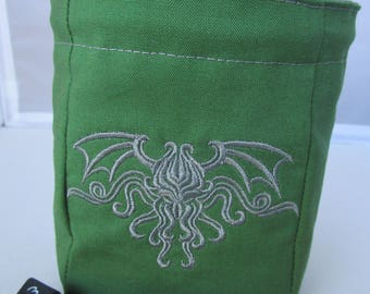 Embroidered Gray Cthulhu dice bag, role playing, Dungeons and Dragons, D and D, drawstring bag, bag of holding, polyhedral dice, pouch