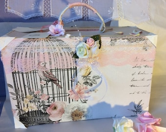 Urn shaped suitcase for wedding romantic shabby 'always' dusty rose and beige