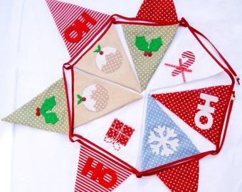 Christmas Bunting~Handmade Appliqué x'mas Pudding Bunting Holly & Ho Ho Bunting Hand crafted christmas garland Red,WhiteBlue,Green 3M