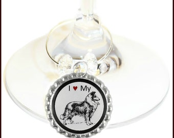Collie Dog Wine Charms - Set Of 6