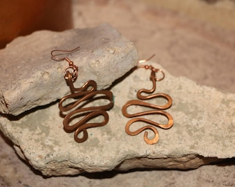 Copper squiggle earrings