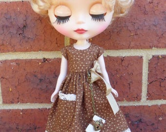 BLYTHE --Brown Spot Dress Set with Pocket Book--