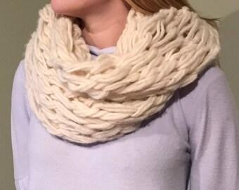 Arm Knit White Infinity Scarf