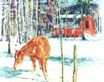 Orange Horse Red Barn