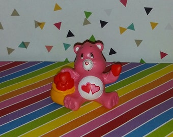 Vintage 1980s Care Bear Love-A-Lot Small PVC Figure