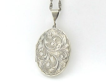 Large Sterling Silver Locket Necklace | Vintage Oval Engraved Photo Locket Pendant On A Chain