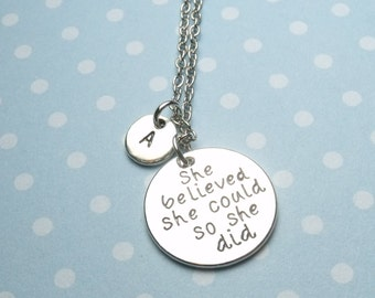 She Believed She Could So She Did Necklace handstamped personalised necklace, initial necklace, graduation gift, motivational, imspirational