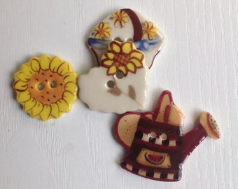 Hand-Painted Porcelain Buttons, Set of 4, Two Hole; White, Brown and Yellow; Heart, Basket, Sunflower & Watercan, Approx. 1 Inch