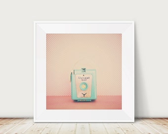 blue camera photograph retro camera art still life photo coral home decor valient 620 camera print hipster style