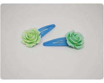 Green/Blue Rose Clips/Snap Clips/Barettes