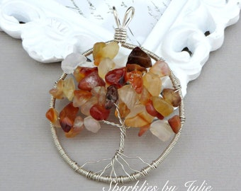 Tree of Life Pendant - RED AGATE, Circular Pendant, Wire Wrapped in Sterling Silver, OOAK, One-of-a-Kind