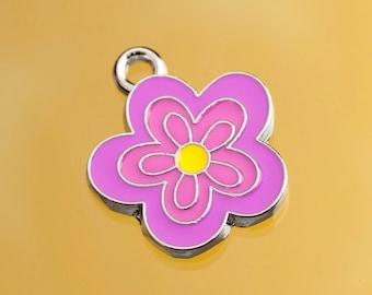 1 - OVERSTOCK SALE Purple Yellow Daisy Flower Enamel Heart Charm, Abstract Flower Charm, Flower Charm, 20mm x 22mm (4-1I)