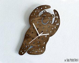 Dancing Bear Silhouette - Wooden Wall Clock