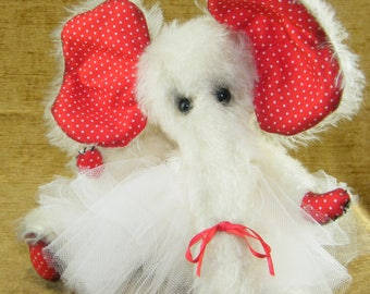 Hugs Unlimited, 10 inch Mohair Artist Ballerina Elephant. Valentine's Gift,  Valentine Keepsake
