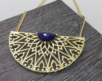 Half moon Necklace, Statement Jewelry, Lapis Long Necklace, Boho jewelry, Unique necklace, Girlfriend gift, Prachi Bhise Jewelry