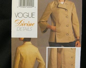 Size 6 - 12 or 14 - 20, Vogue 8480 Divine Details Jacket, princess seams, cropped flared sleeve, pockets, back vent, front pleats, 2008 easy
