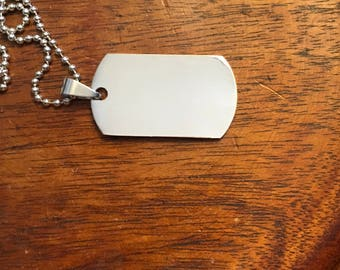 Personalized Silver Dog Tag ID Necklace