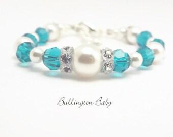 Baby Bracelet, Baby Pearl Bracelet, Birthstone Bracelet, Baby Shower Gift, Baby Jewelry, Birthstone Jewelry, Baby Girl Bracelet (B13)