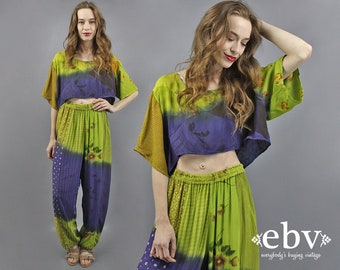 Two Piece Set Two Piece Outfit Matching Set Festival Outfit Vintage 90s Floral Crop Top + Harem Pants Outfit S M L Indian Top Indian Pants