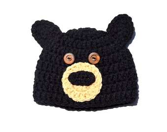 Crochet Baby Hat, Black Bear Crochet Hat, Bear Ear Beanie, Baby Boy Animal Hat, Infant Bear Hat, Black Bear Knit Hat, Knit Baby Hat, Newborn