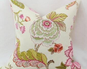 Pink green floral pillow cover 18x18 20x20 Pink pillow Jacobean Euro sham pink Lumbar pillow 12x20 12x24 14x26 16x24 16x26
