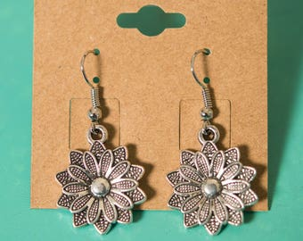 Flower Textured Large Silver Earrings
