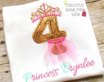 Princess t-shirt/ Princess Birthday Number Top/ Personalized princess top