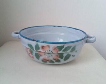 20%Off Vintage small floral enamel bowl, rustic kitchen decor, light grey blue rim antique farmhouse enamelware cottage chic