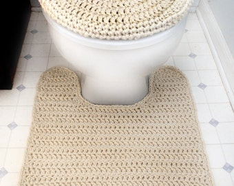Toilet Seat Cover and Contour Rug - PDF Crochet Pattern - Instant Download