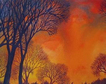 Sunset Lace I an original watercolor