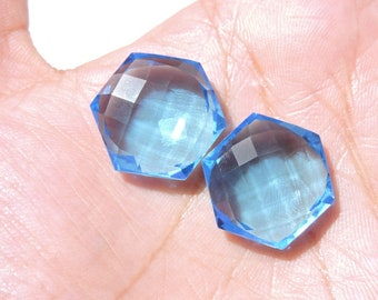1 Pair Swiss Blue Quartz Faceted Hexagon Shape Loose Gemstone Both Side Faceted Gemstone Size 20 MM
