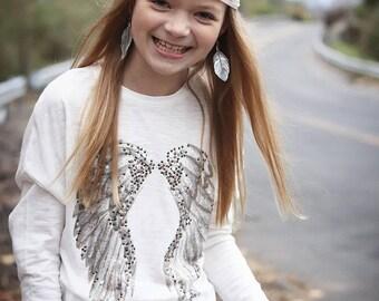 Boho Earrings, Bohemian Earrings, Feather Earrings, Kids Earrings, Flower Girl, Bohemian, Girl Earrings, Leather Feather Earrings, SMALL,