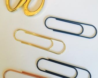 Jumbo Rose Gold ~ Jumbo Black Paperclip ~ Jumbo Navy Paperclip ~ Gold Jumbo Paperclip ~ Page Marker ~ Bookmark ~ Page Clip ~ Planner Clip