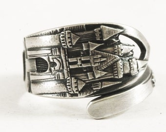 Disneyland Ring, Disney Ring, Sterling Silver Spoon Ring, Disneyland Castle, Sleeping Beauty Castle, Disneyland Jewelry Adjustable Ring 5863