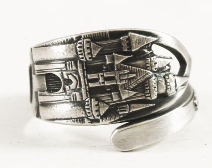 Disneyland Ring, Disney Ring, Sterling Silver Spoon Ring, Disneyland Castle, Sleeping Beauty Castle, Disneyland Jewelry Adjustable Ring 8000