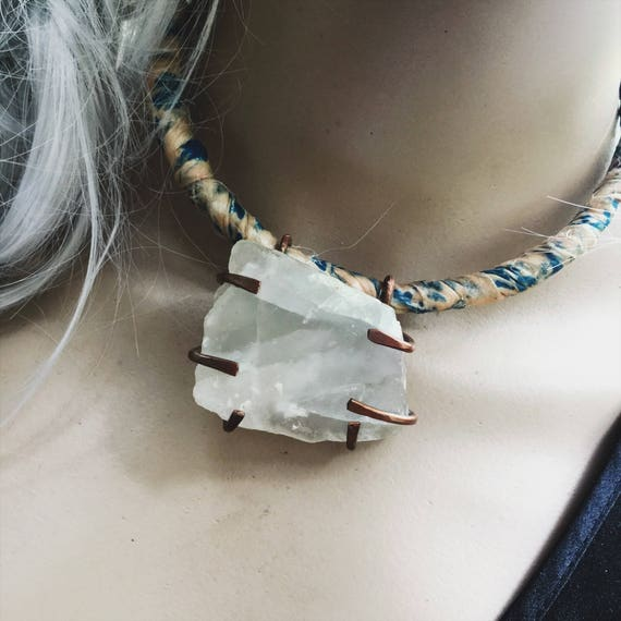 Boho raw quartz choker - large raw crystal on flexible distressed sari silk and metal choker