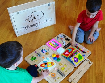 Busy board for boy,Toys for autism, Wooden busy toys, Sensory board, Latch board, Activity board,Busy book,Toys for twins, Toddler busy toys