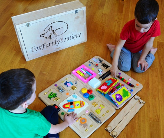 Learning Toys For Autistic Toddlers : Busy board for boytoys autism wooden toys sensory