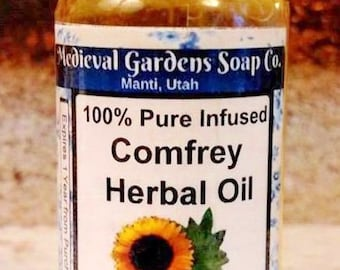 Comfrey Oil, Symphytum officinale, 100% Pure Infused Organic Sunflower Oil, Medieval, Garden, Herb, Additive, Salve, Lip Balm, Cosmetic