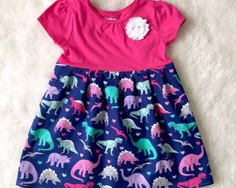 Dinosaur dress girls**Dino dress**Jurassic park, T-rex, Roar**tomboy dress, novelty dress, prehistoric**Custom made, size 2t, 3t, 4t, 5t