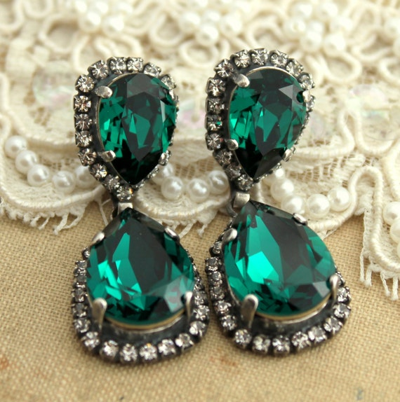 Emerald chandelier earringsemerald statement earringsemerald like this item mozeypictures Image collections