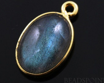 Natural Labradorite Cabochon Pendant in  Gold Vermeil,   Setting.,18x11mm Incredible Blue Fire to Illminate Your Style., 1 Piece (LAB025)
