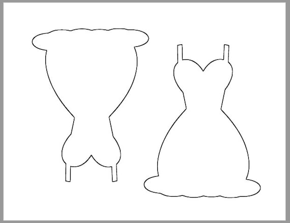 6 Inch Dress Template Printable Wedding Cutouts DIY Decor Bridal Shower Advice Cards Princess Cutout Coloring Page From