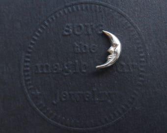 Crescent Moon Tie Tack, Moon Pin, Moon Lapel Pin, small moon pin, little silver moon Tiepin, Moon brooch, silver pin, Gifts for Men