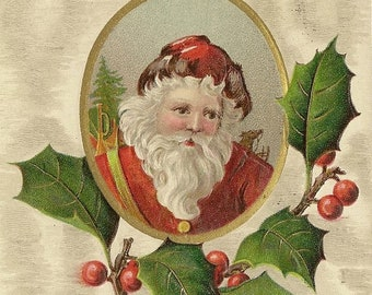 Santa Vignette and Holly Branch Embossed Antique Christmas Postcard 1908