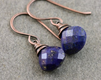 Blue Lapis Earrings, Wire Wrapped, Faceted Lapis Lazuli Pyrite, Sterling Silver or Copper Ear wires, Handcrafted Drop Dangle